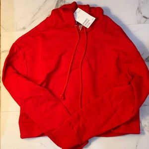 New divided red cropped hoodie